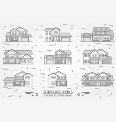 set thin line icon suburban american vector image