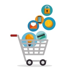 Shopping cart online app vector