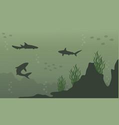Silhouette of shark on underwater landscape vector