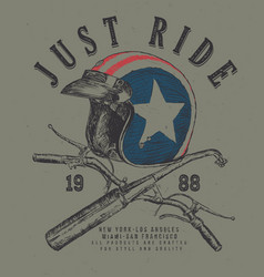 sketch usa helmet t shirt prints with handle bar vector image