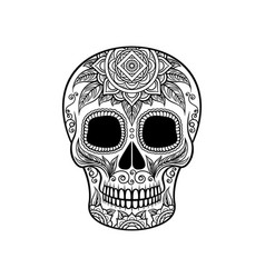 Sugar skull with floral ornament dia de muertos vector