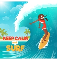 Summer Vacation Surfing Flat Colorful Poster vector image