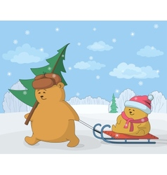 Teddy bears with a Christmas tree vector image