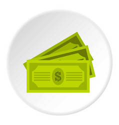 three dollar bills icon circle vector image