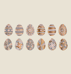 traditional easter egg decor in pale rose and gray vector image