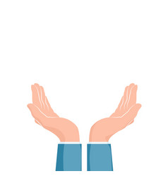 Two cupped hands supporting hands isolated vector
