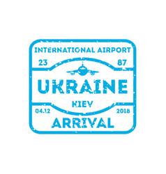 Ukraine country visa stamp on passport vector
