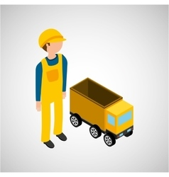 under construction worker with dump truck vector image