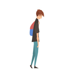 Unhappy sad guy standing with backpack depressed vector