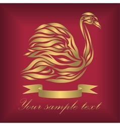Vintage ornamental gold swan vector