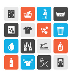 Washing machine and laundry icons vector