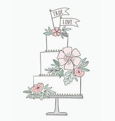 Wedding cake hand drawn cake vector