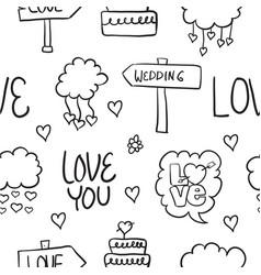 Wedding doodles style vector