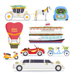 Wedding fashion transportation traditional auto vector