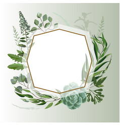Wedding herbal frame vector