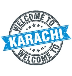 Welcome to Karachi blue round vintage stamp vector