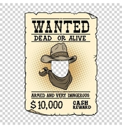 Western ad wanted dead or alive vector