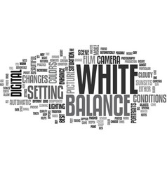 white balance text word cloud concept vector image