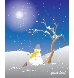 winter snowman vector image