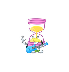 With guitar icon sandglass in cartoon vector