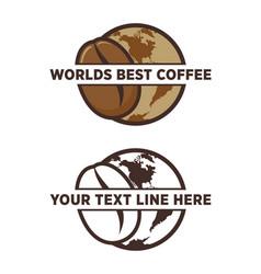 worlds best coffee bean emblem vector image