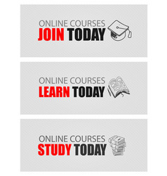 online courses concept with business doodle vector image