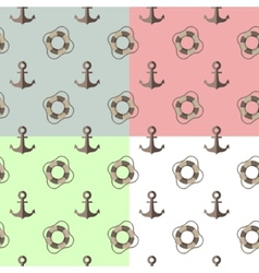 sea seamless pattern with anchors and lifebuoys vector image vector image