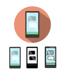 smartphone icon with text messenger on screen vector image vector image