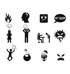 black angry icons set vector image vector image