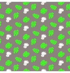 Tropical grunge pattern with fruits and leafs vector image