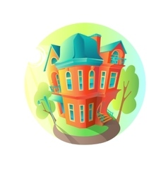Bright house in the summer weather cottage vector