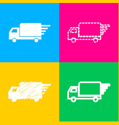 delivery sign four styles of icon on vector image