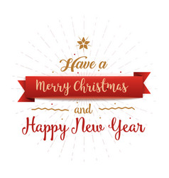 have a merry christmas and happy new year vintage vector image