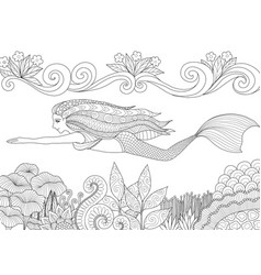 mermaid 9 vector image vector image