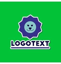 paper sticker on stylish background lion logo vector image
