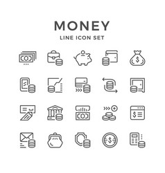 set line icons of money vector image vector image