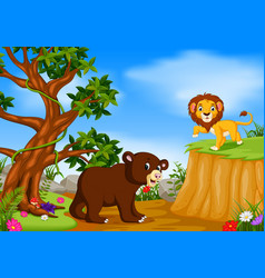Bear and lion with mountain cliff scene vector