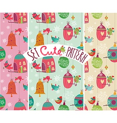 Christmas birds pattern vector image