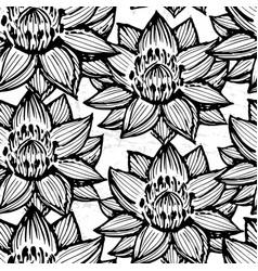 lotus ink hand drawn seamless pattern vector image vector image