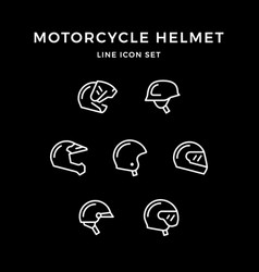 set line icons of motorcycle helmet vector image vector image