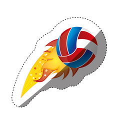 Sticker colorful olympic flame with volleyball vector