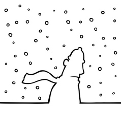 walking through snowy weather vector image
