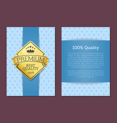 100 quality poster design golden label best cover vector image