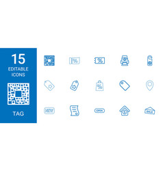 15 tag icons vector image