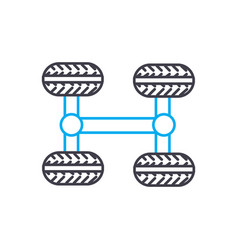 4wd transmission thin line stroke icon 4wd vector