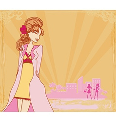 abstract fashion girl Shopping - vector image