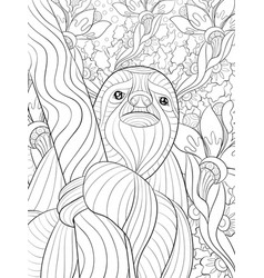 Adult coloring bookpage a cute slothful on the vector
