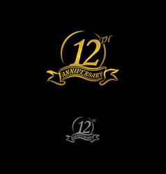 Anniversary unusual label twelve year symbol vector