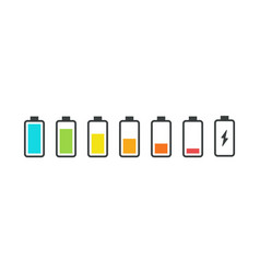 Battery icons phone charge status smartphone ui vector