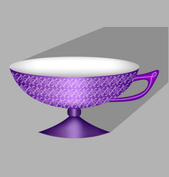Beautiful 3d chinese tea cup in purple design vector